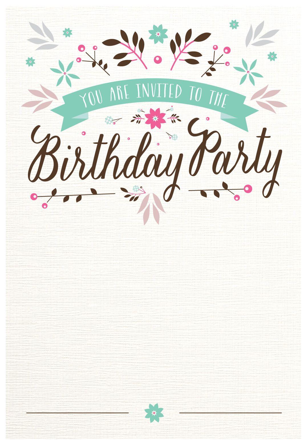 Flat Floral - Free Printable Birthday Invitation Template - 21St Birthday Invitation Templates Free Printable