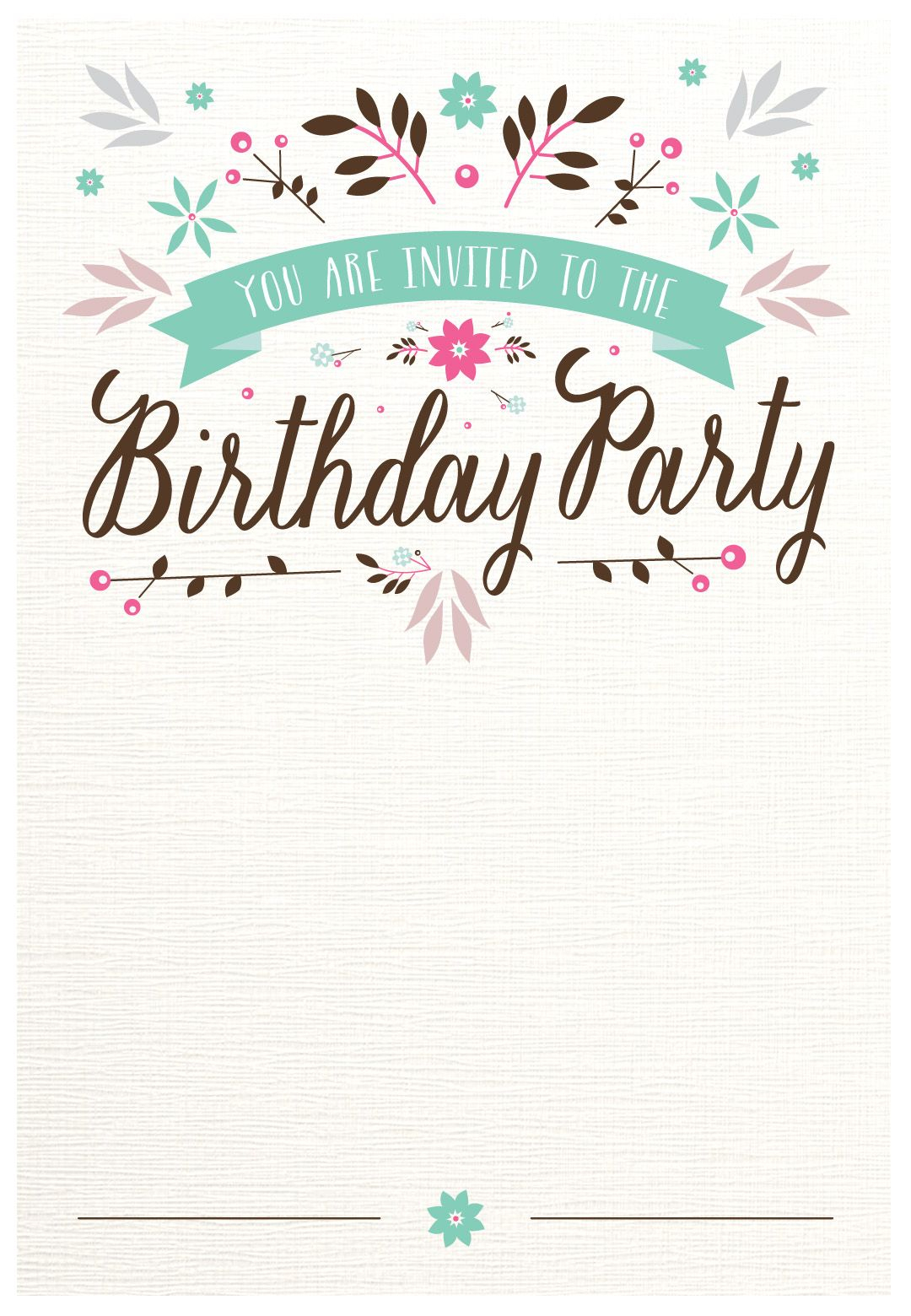 Flat Floral - Free Printable Birthday Invitation Template - Free Printable Birthday Invitations Pinterest