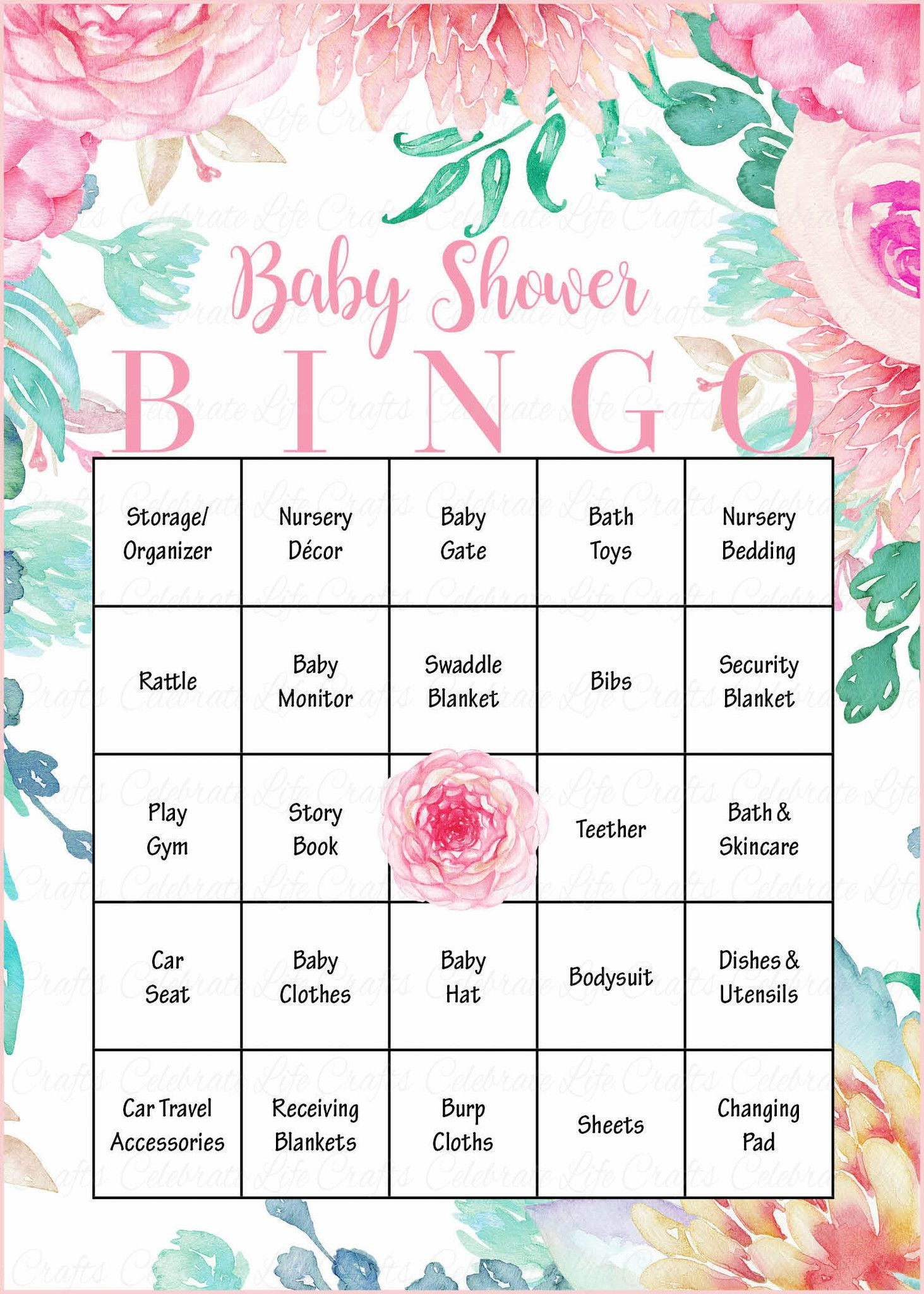 Floral Baby Bingo Cards - Printable Download - Prefilled - Spring - Baby Bingo Game Free Printable