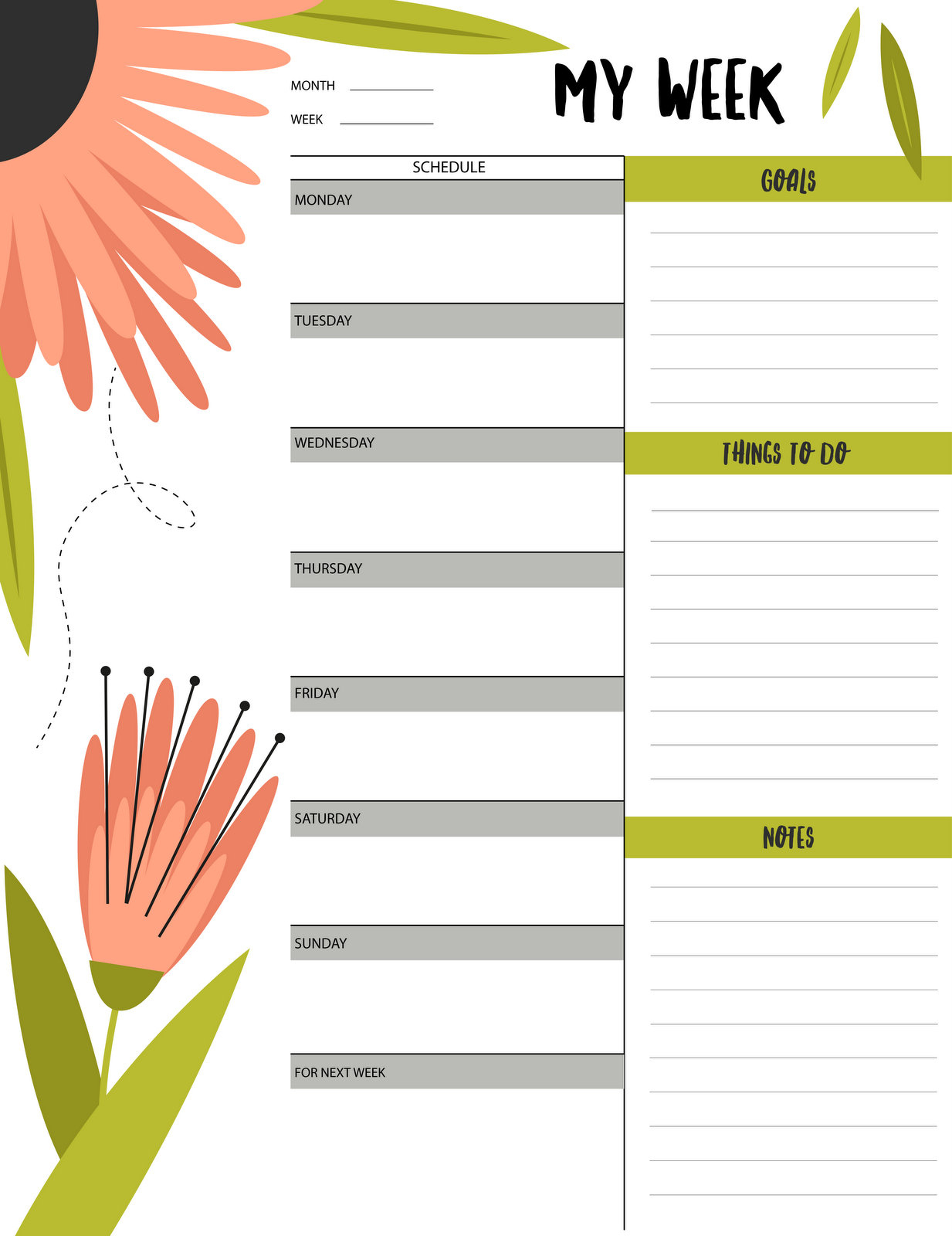 """Floral """"my Week"""" Schedule & To-Do List Printable - Free Printable - Free Printable To Do List Planner"""