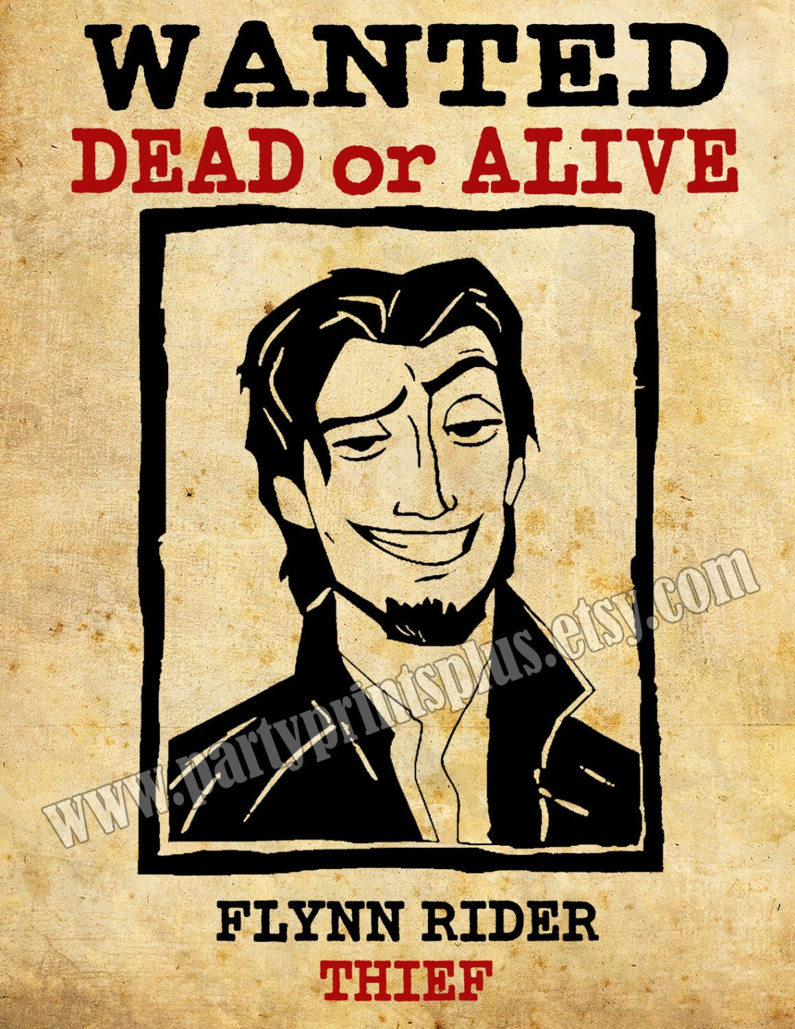 Flynn Rider Wanted Poster Decoration Forpartyprintsplus, $1.00 - Free Printable Flynn Rider Wanted Poster