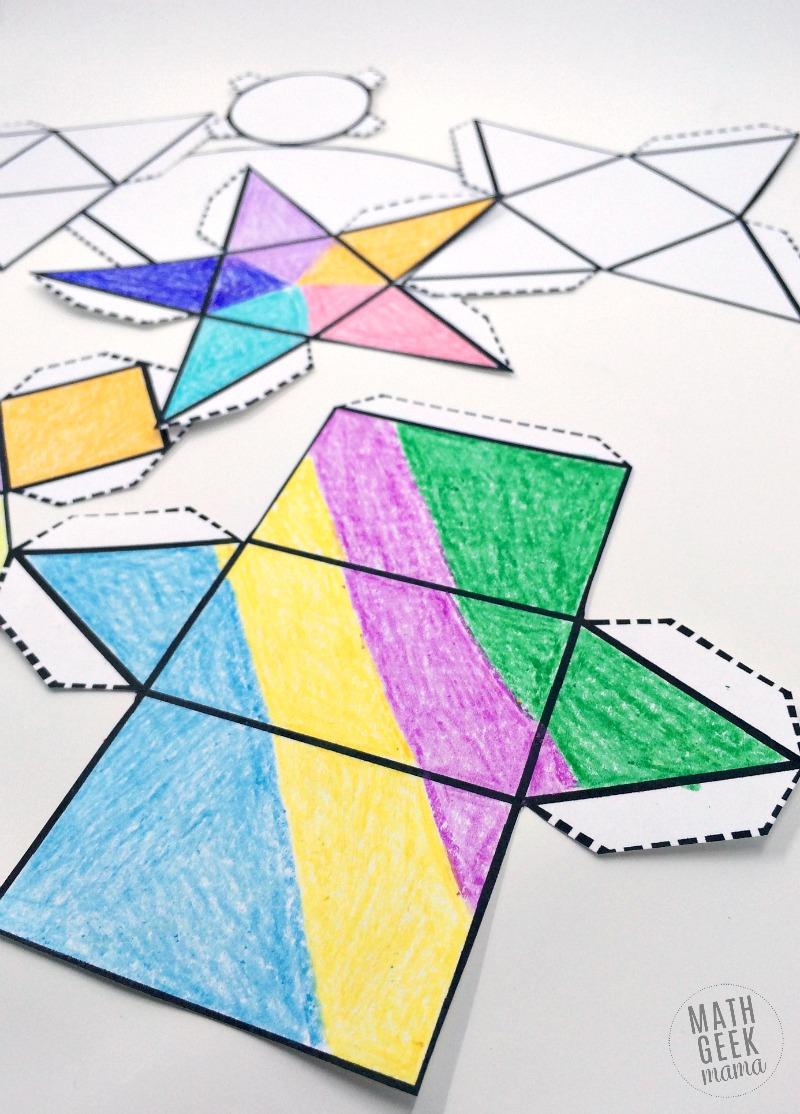 Foldable 3D Shapes (Free Printable Nets!) - Free Printable Geometric Shapes