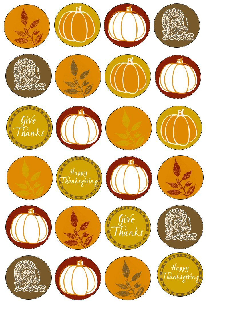 Food Art Party: Free Thanksgiving Printable Cupcake Wrappers - Thanksgiving Cupcake Toppers Printable Free
