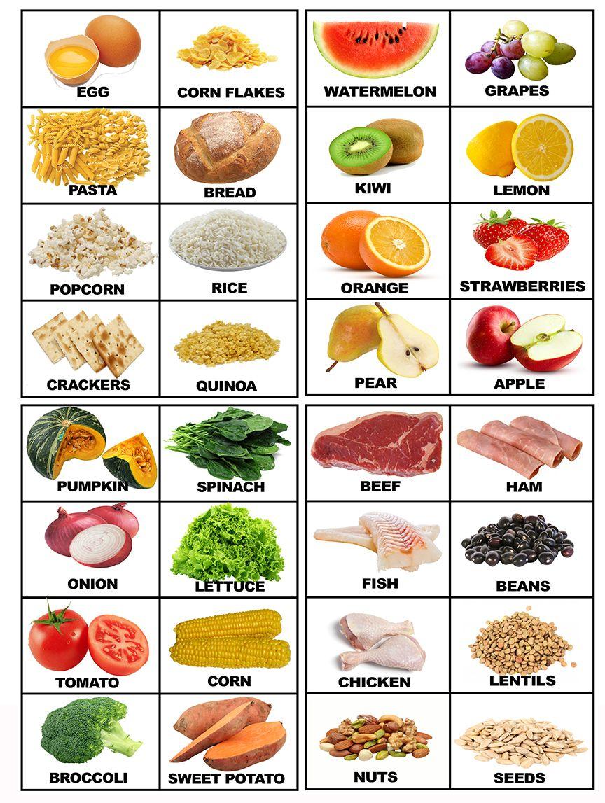 Food Printable Flashcards With Real Food | Food | Pinterest | Food - Free Printable Vocabulary Flashcards