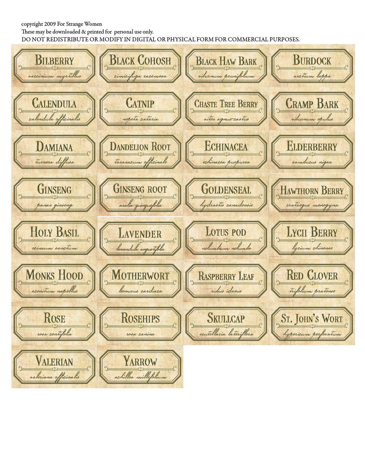 For Strange Women: Diy Spice Jar Labels - A Free Download To - Free Printable Herb Labels
