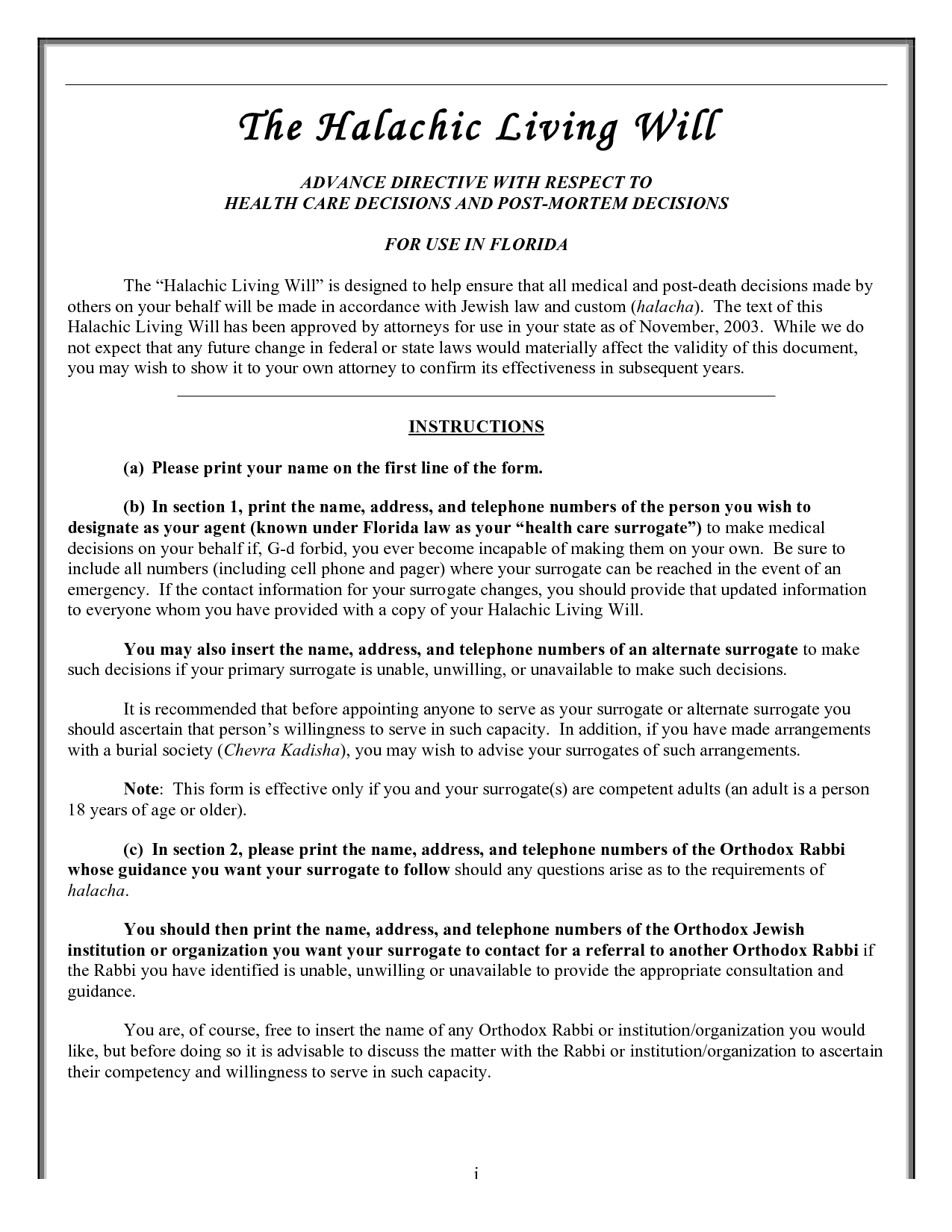 Form Templates Free Living Will Forms To Print Printable Florida - Living Will Forms Free Printable