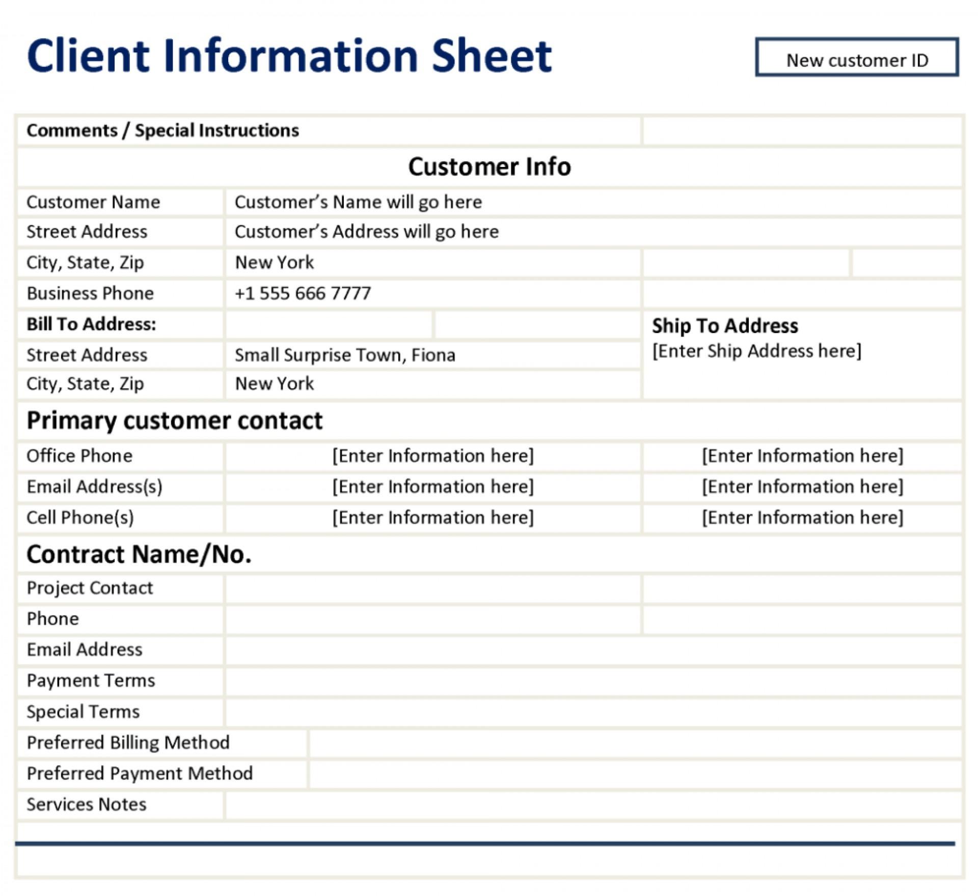 Formidable Patient Information Sheet Template ~ Ulyssesroom - Free Printable Customer Information Sheets