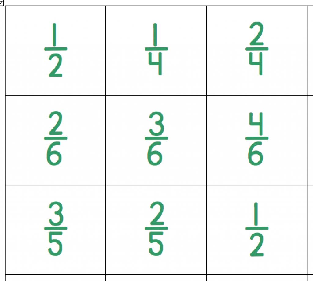 Fraction Bingo – Skinned Knees & Shoelaces Inside Fraction Bingo - Fraction Bingo Cards Printable Free