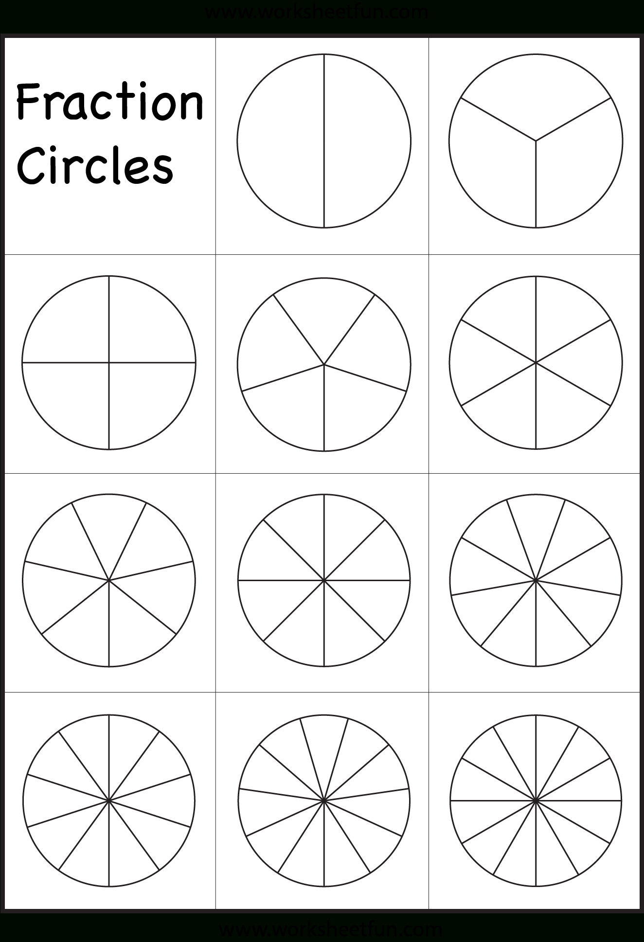 Fraction Circles Template – Printable Fraction Circles – 1 Worksheet - Free Printable Blank Fraction Circles