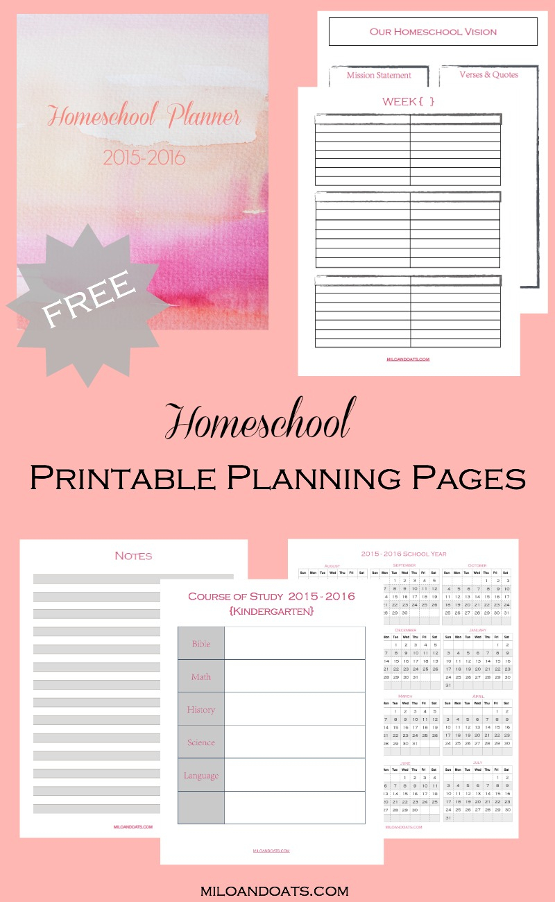 Free 2015-2016 Homeschool Lesson Planner - Homeschool Lesson Planner Free Printable