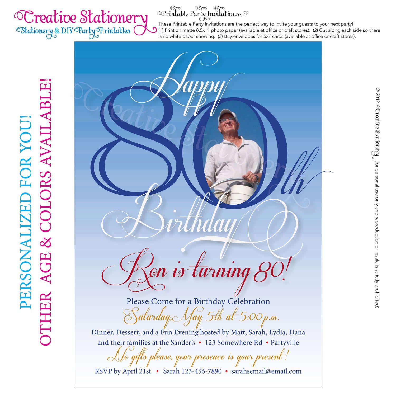 Free 80Th Birthday Invitations Templates | Free Printable - 21St Birthday Invitation Templates Free Printable