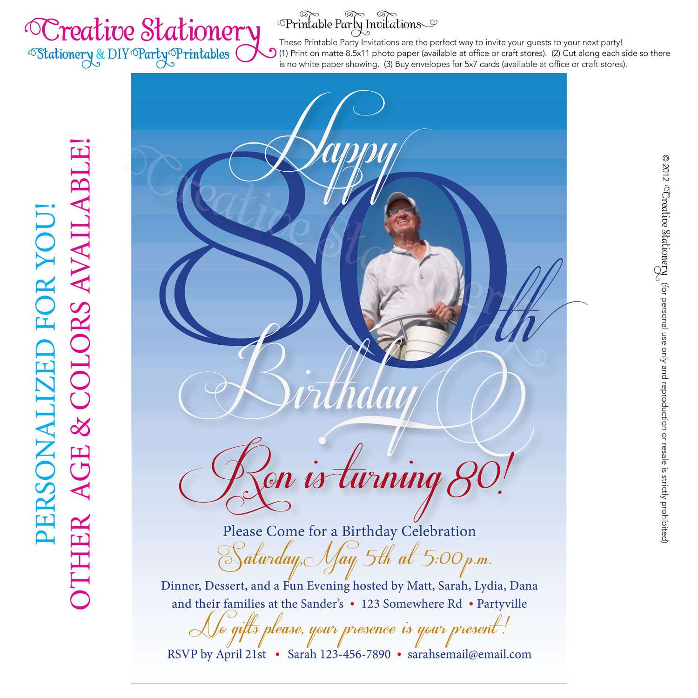 Free 80Th Birthday Invitations Templates | Free Printable - Printable Invitations Free No Download