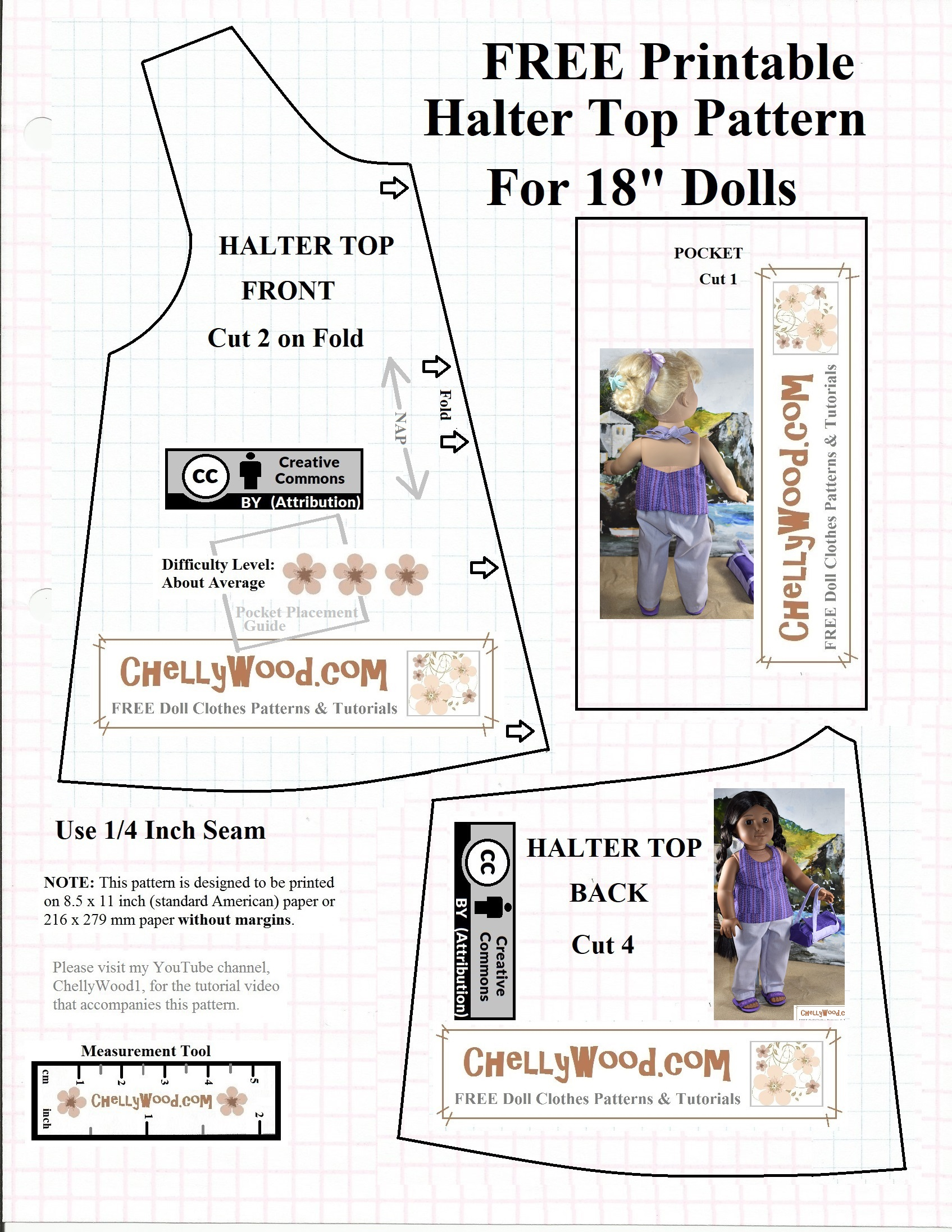 Free #agdoll Summer Shirt Pattern @ Chellywood #sewing 4#dolls - Free Printable Doll Clothes Patterns For 18 Inch Dolls
