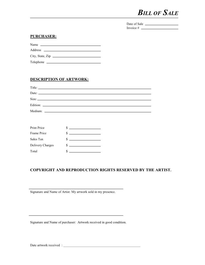 Free Artwork Bill Of Sale Form - Download Pdf   Word - Free Printable Bill Of Sale Form