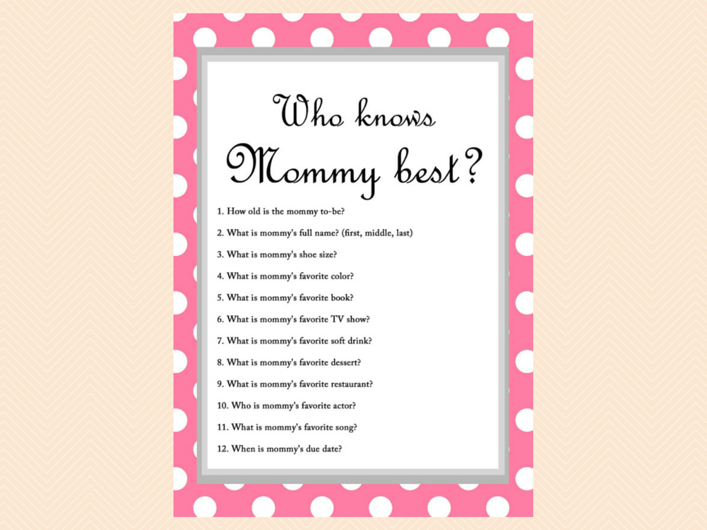 Free Baby Shower Game - Who Knows Mommy Best | Seuntjie Babyshower - Free Printable Baby Shower Games Who Knows Mommy The Best