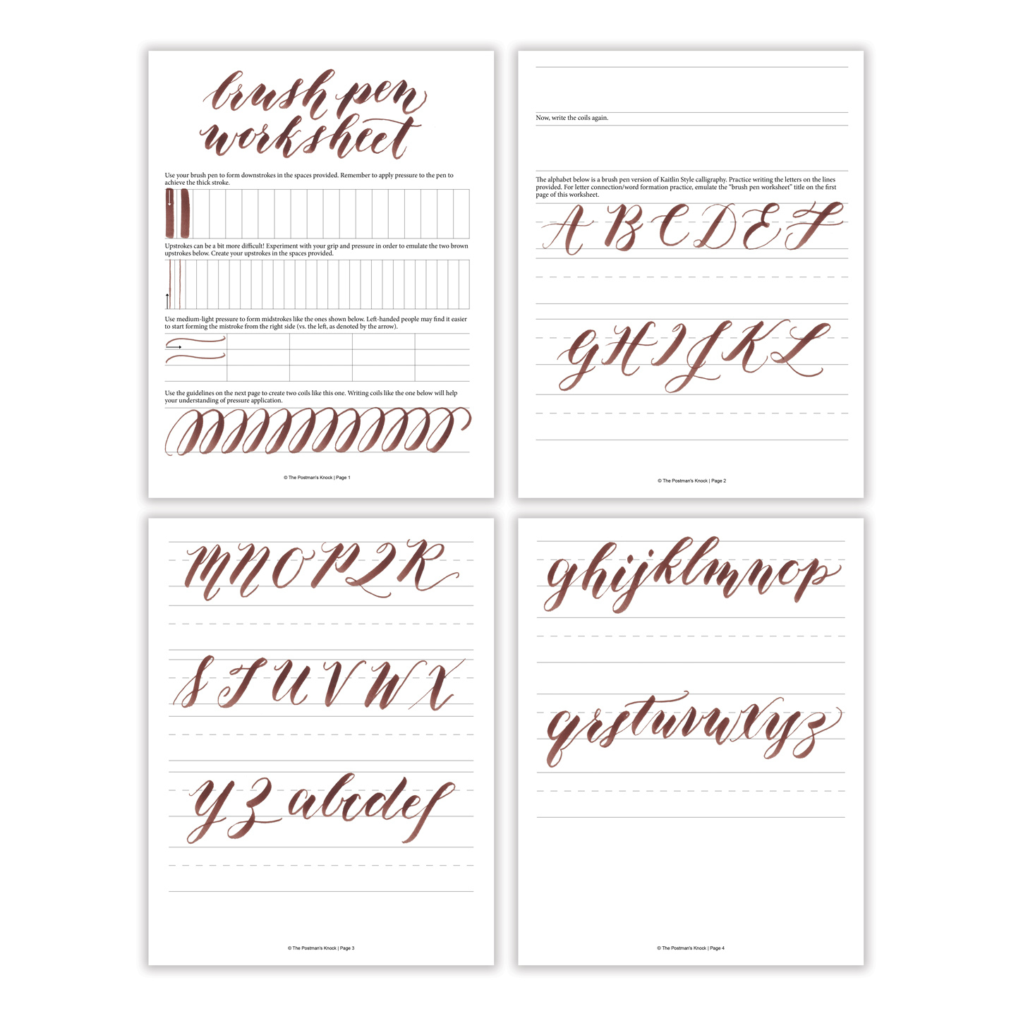 Free Basic Brush Pen Calligraphy Worksheet – The Postman's Knock - Free Printable Calligraphy Worksheets