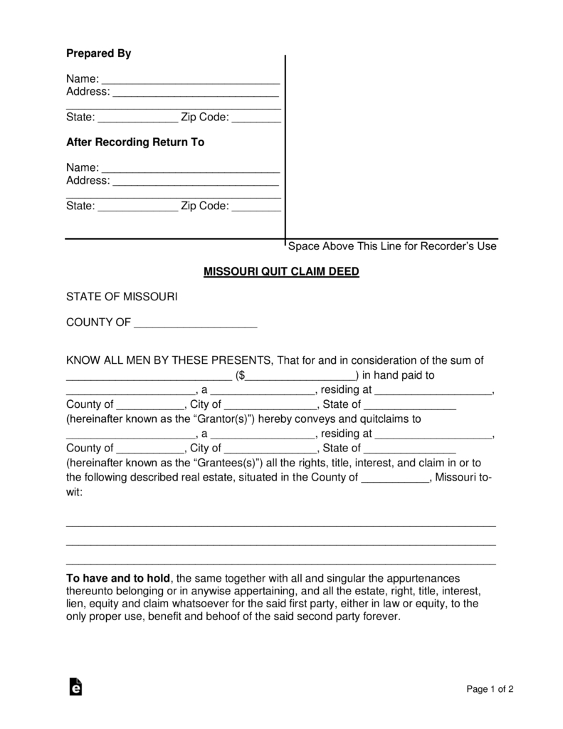 Free Beneficiary Deed Missouri Template Free Missouri Quit Claim - Free Printable Beneficiary Deed
