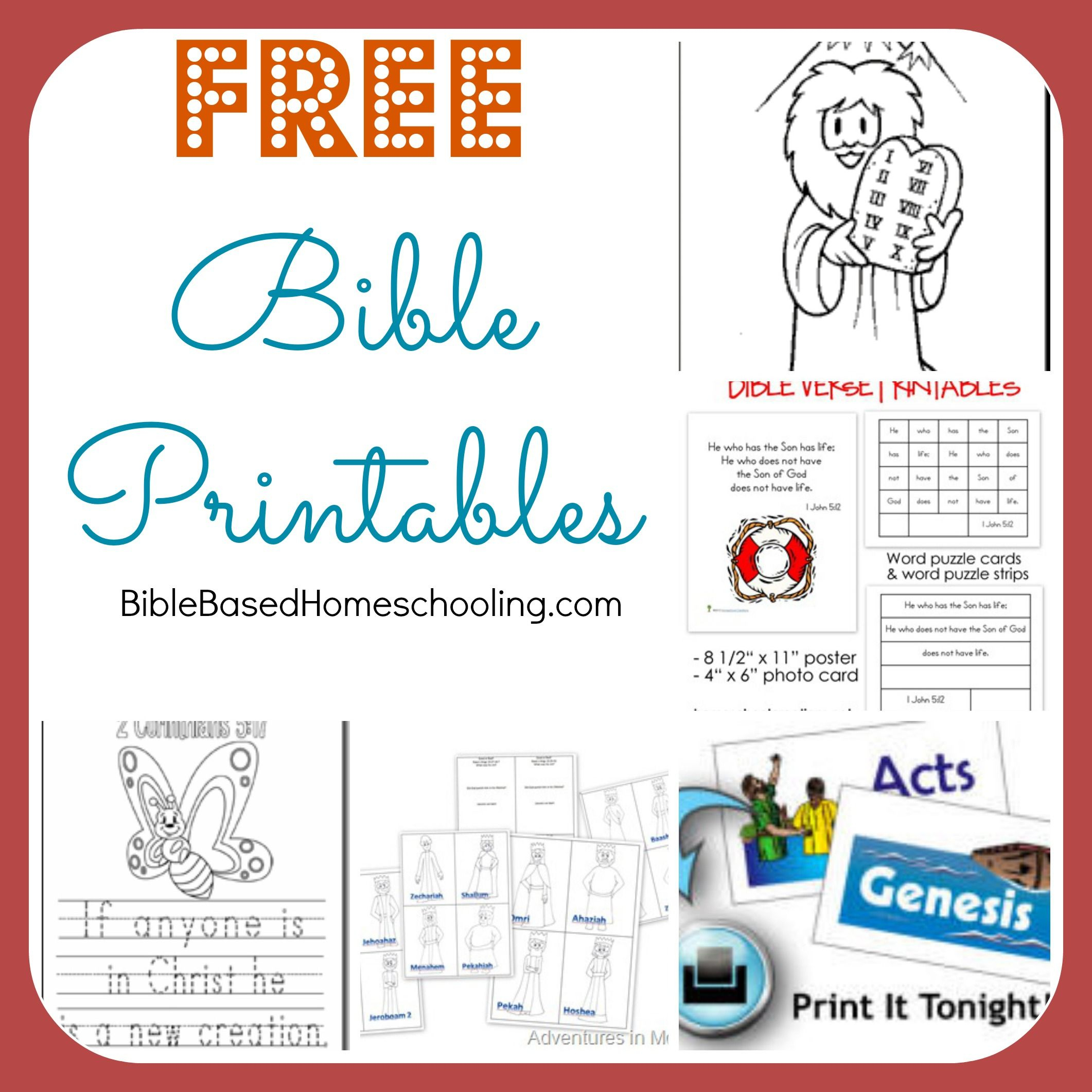 Free Bible Printables   Ultimate Homeschool Encouragement - Free Printable Children's Bible Lessons