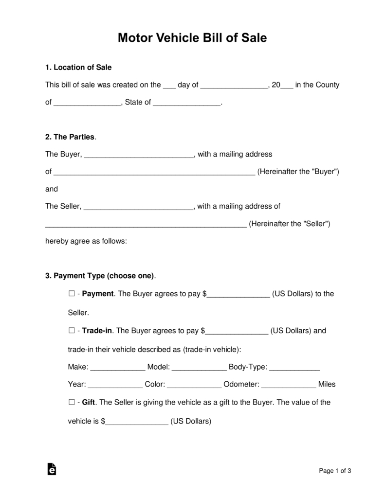 Free Bill Of Sale Forms - Pdf | Word | Eforms – Free Fillable Forms - Free Printable Blank Auto Bill Of Sale