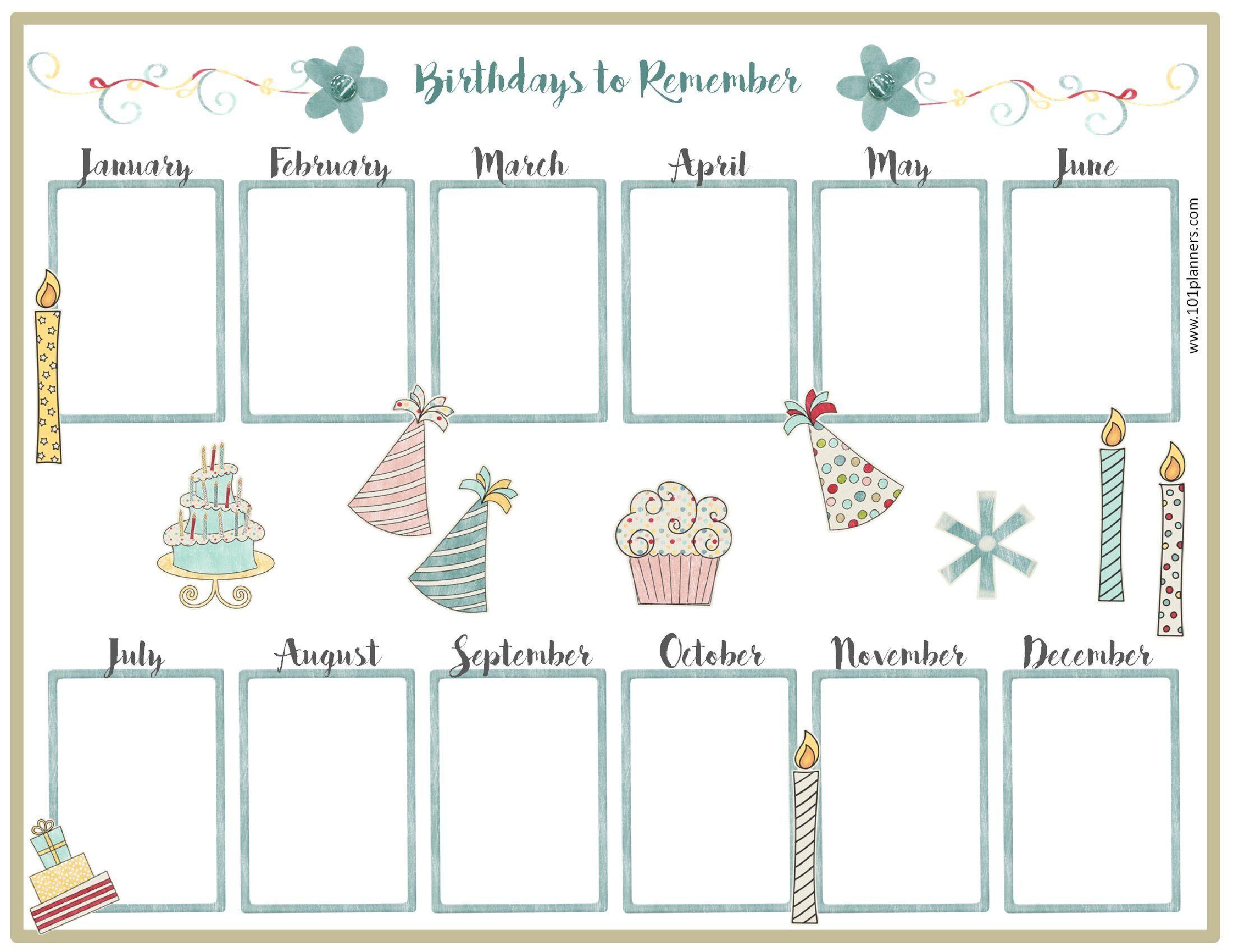 Free Birthday Calendar | Birthday Calendar | Pinterest | Birthday - Free Printable Birthday Graph