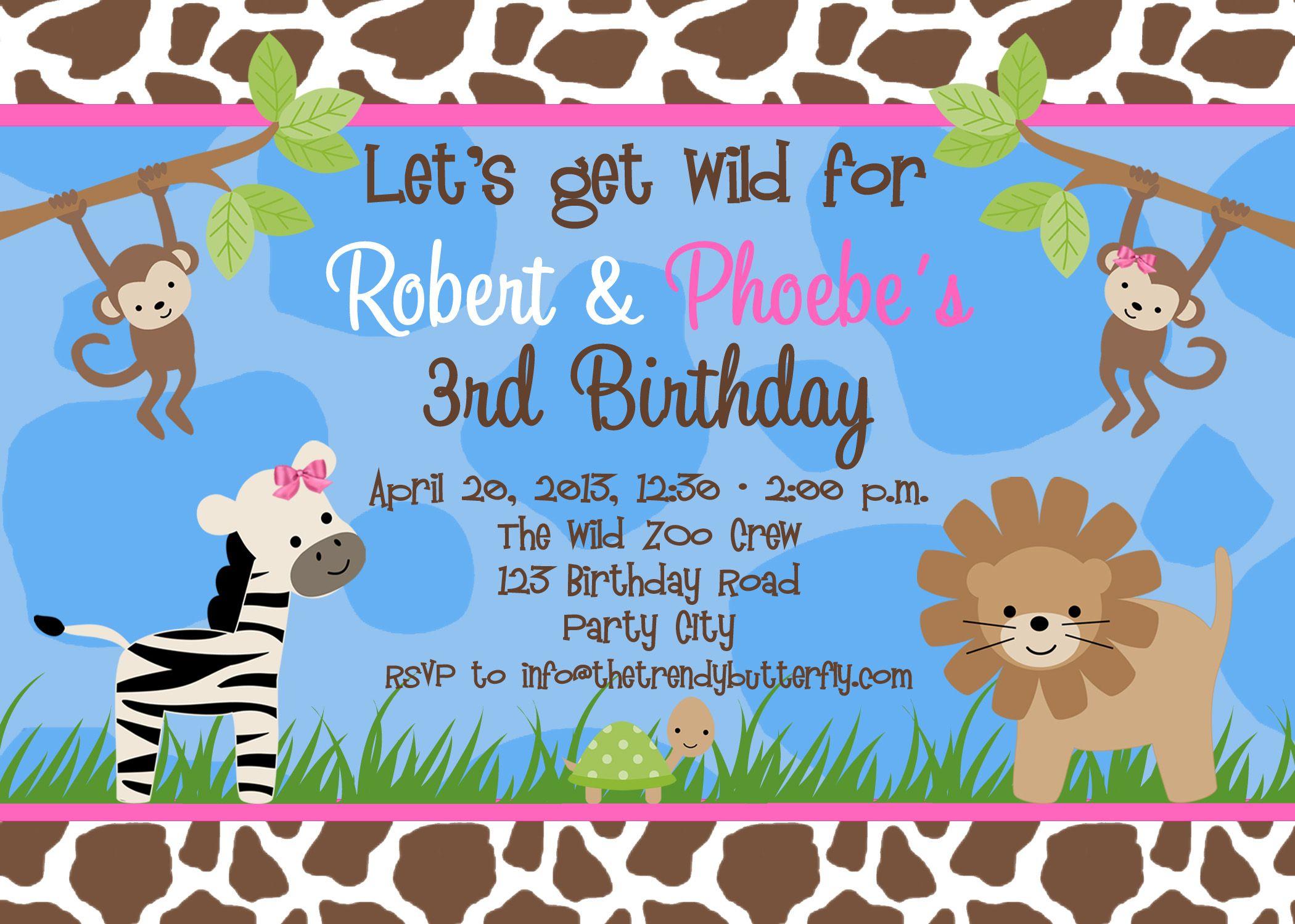 Free Birthday Party Invitation | Craft For Amber | Pinterest - Jungle Theme Birthday Invitations Free Printable