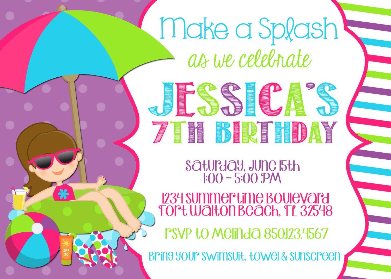 Free Birthday Party Invitations Card Printable Glamours Children - Free Printable Polka Dot Birthday Party Invitations