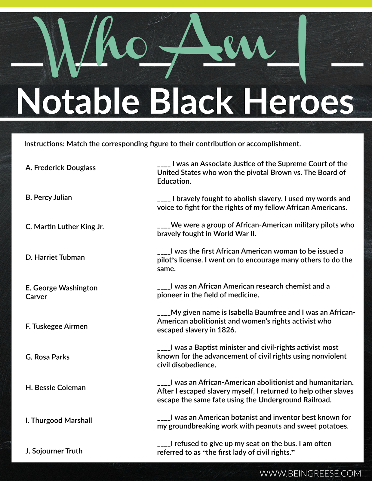 Free Black History Month Worksheet + A Reading List   Internship - Free Printable Black History Month Word Search