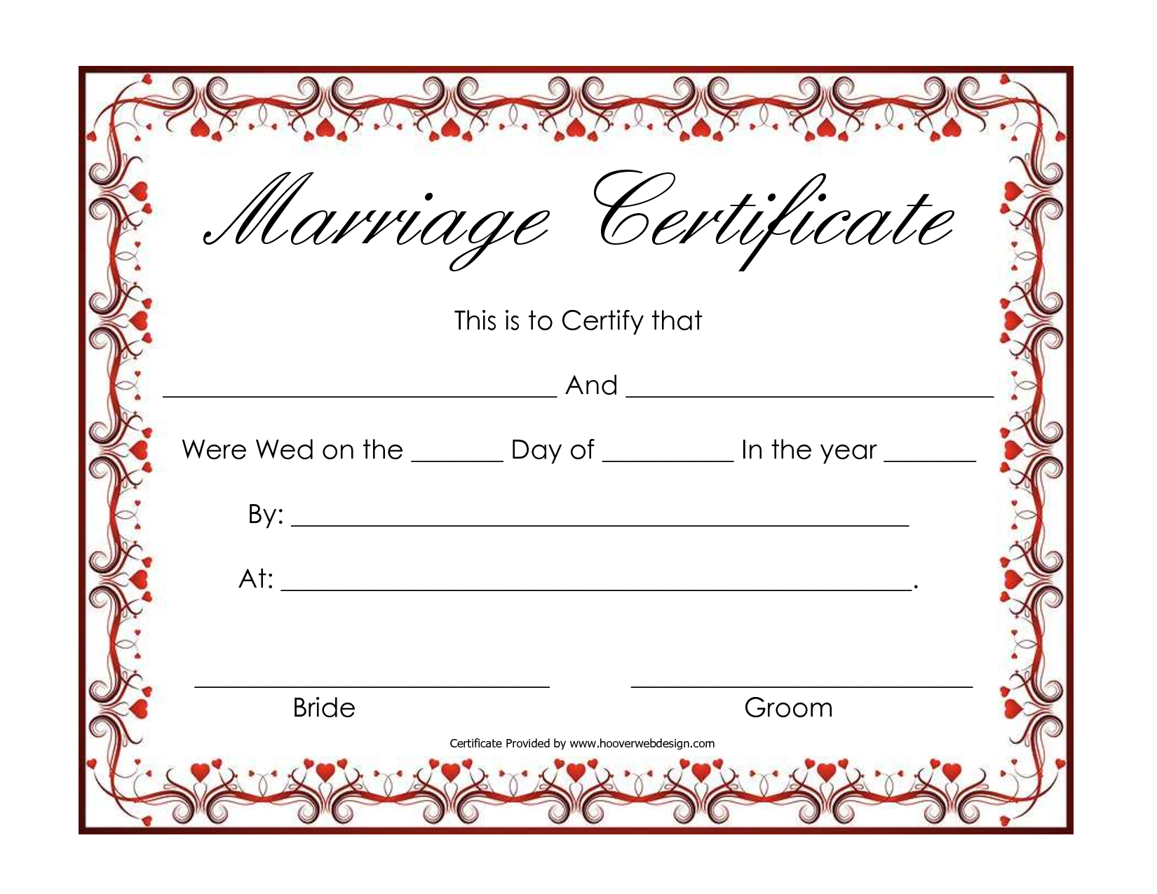 Free Blank Marriage Certificates | Printable Marriage Certificate - Free Printable Wedding Certificates