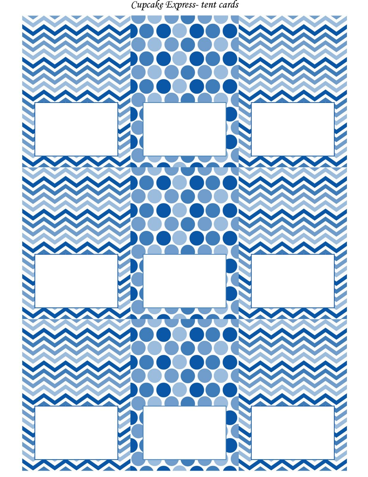 Free Blue And White Printable Tent Cards   Free Printables - Free Printable Food Tent Cards