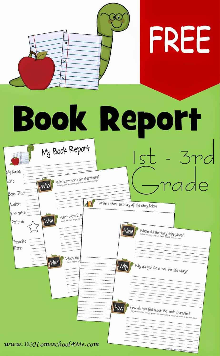 Free Book Report Template | 123 Homeschool 4 Me - Free Printable Book Report Forms