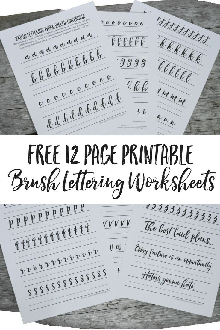 Free Brush Lettering Worksheets | Lettering | Pinterest | Brush - Free Printable Calligraphy Worksheets