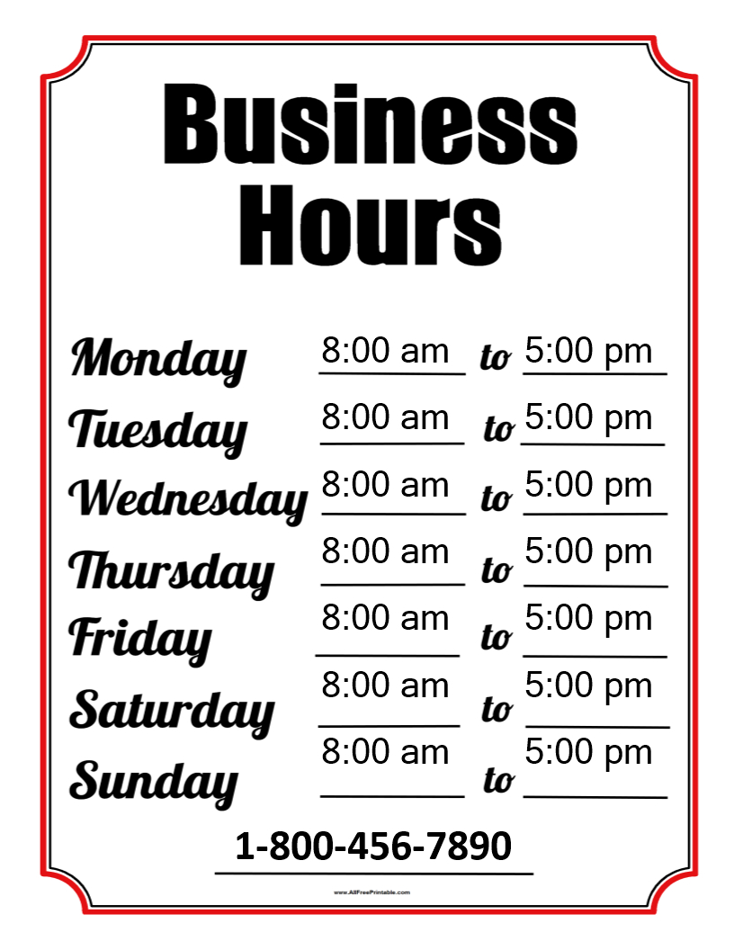 Free Business Hours Template | Templates At Allbusinesstemplates - Free Printable Business Hours Sign