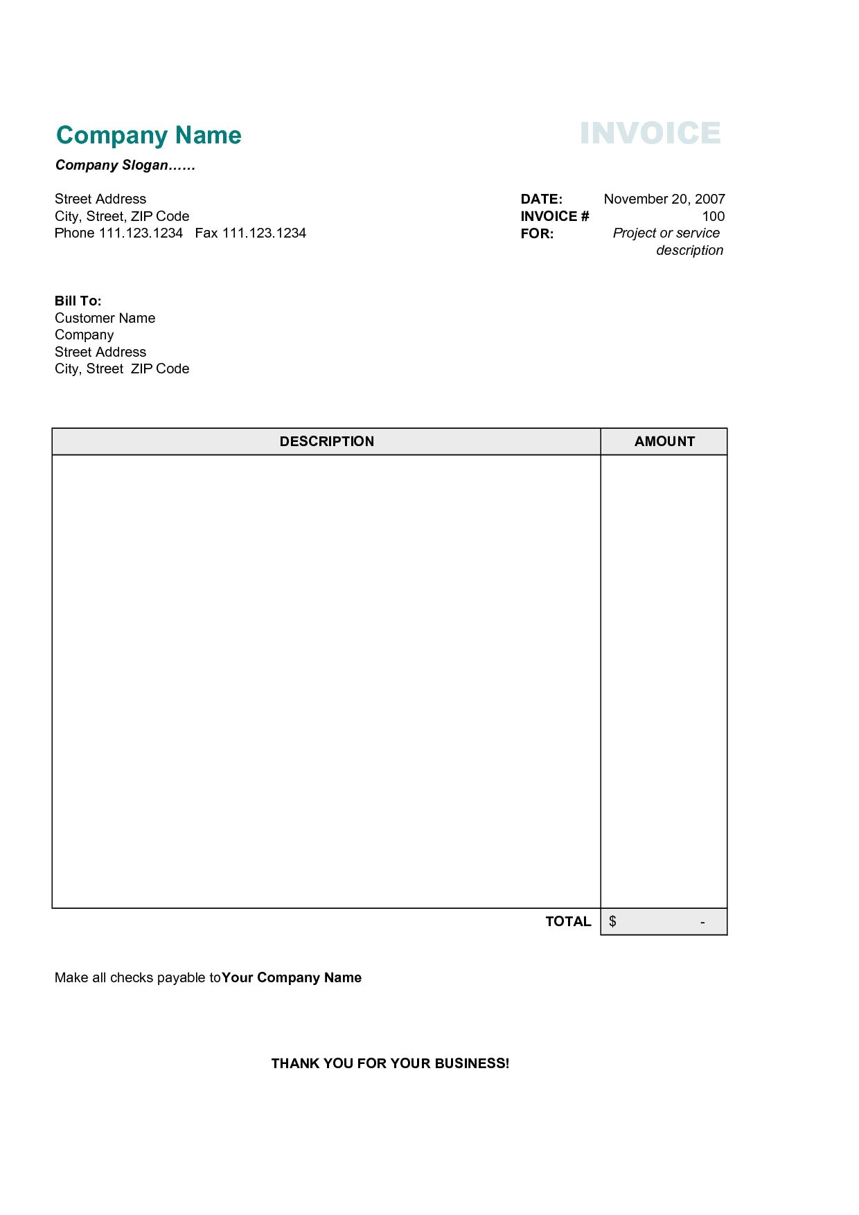 Free Business Invoice Template Best Business Template Free Invoice - Invoice Templates Printable Free Word Doc