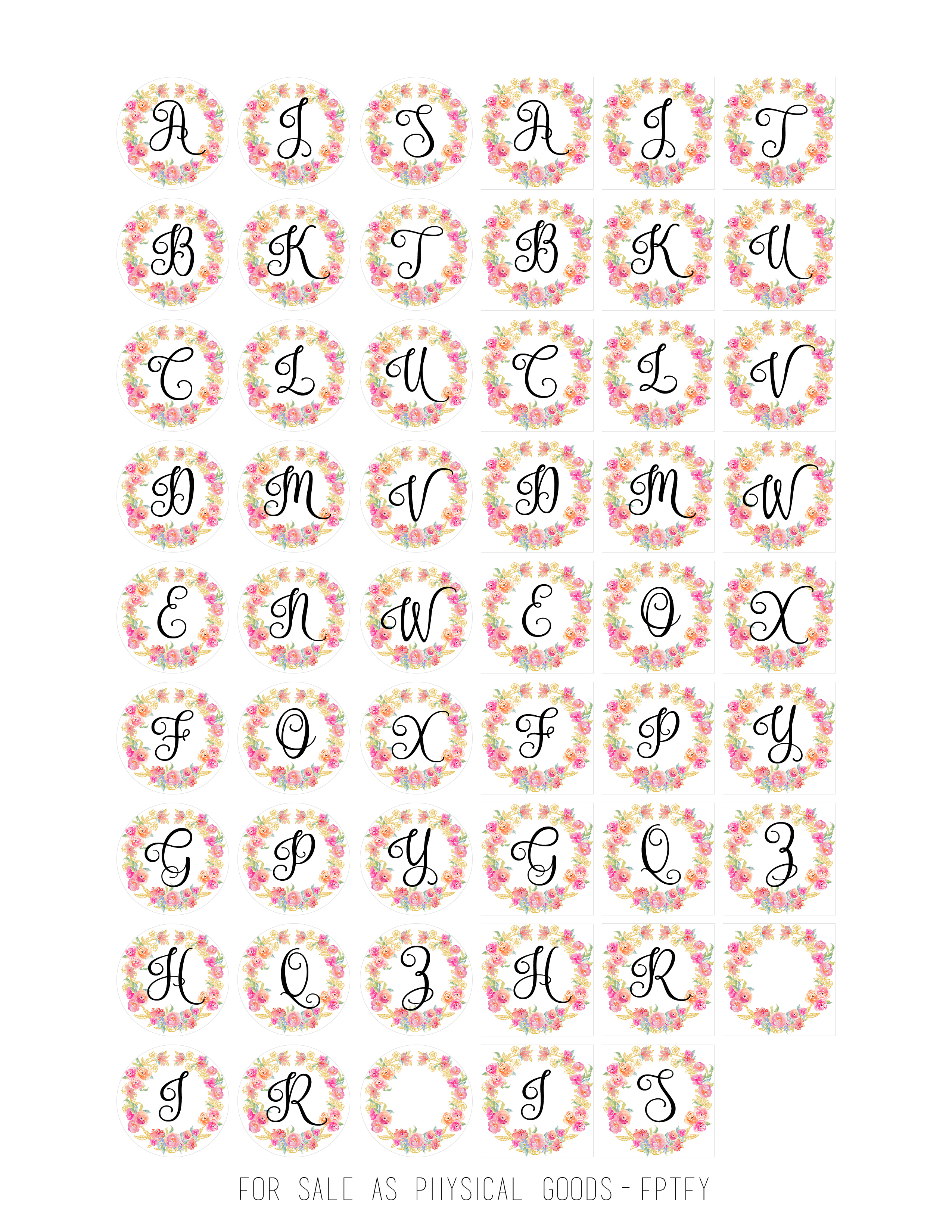 Free Cabochon Images-Initials - Free Pretty Things For You - Free Printable Cabochon Templates