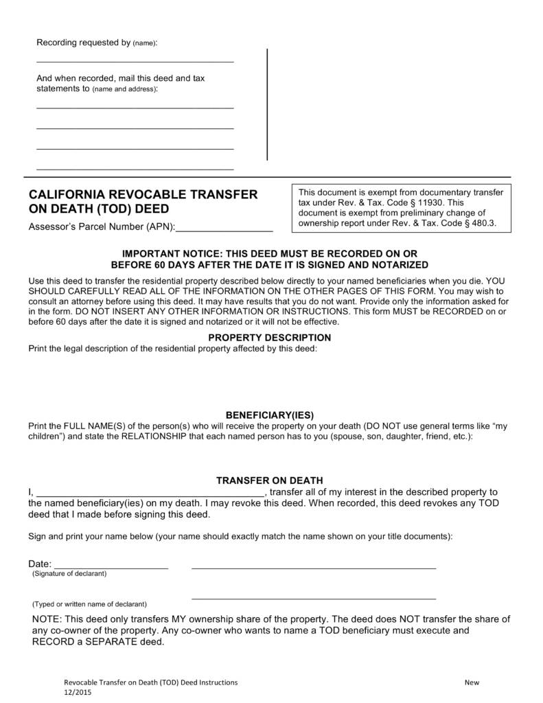 Free California Revocable Transfer On Death (Tod) Deed Form - Word - Free Printable Beneficiary Deed