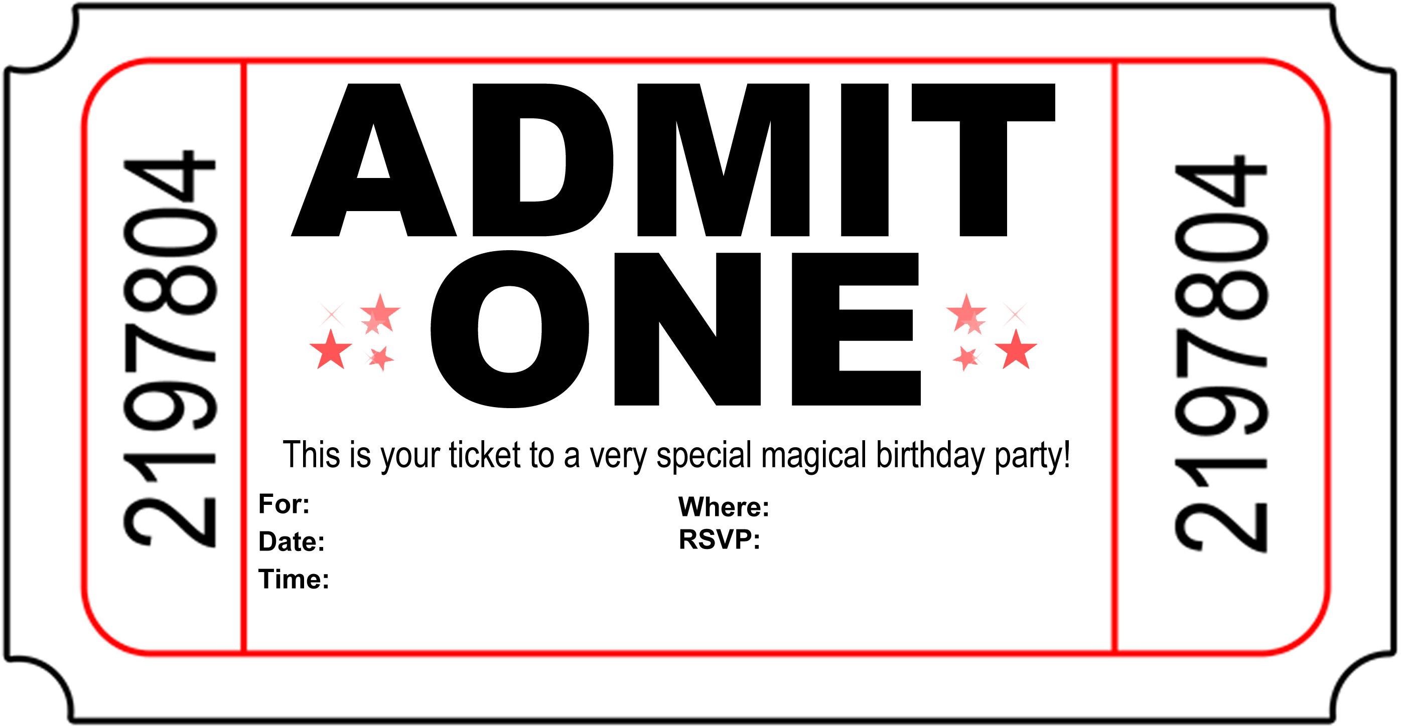 Free Carnival Ticket Invitation Template, Download Free Clip Art - Free Printable Ticket Invitation Templates