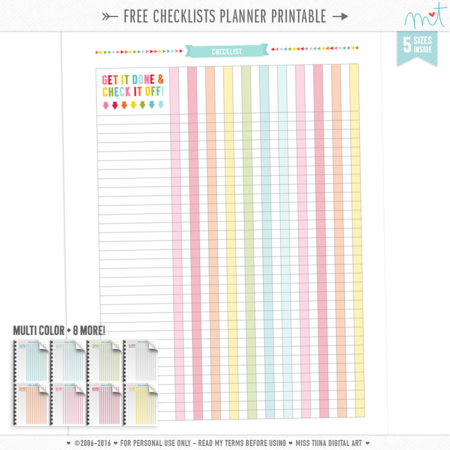Free Checklists Planner Page Printables | Misstiina - Free Printable Checklist