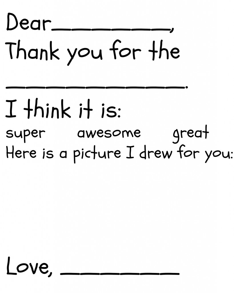Free Children's Thank You Printable   The Happier Homemaker - Free Christmas Thank You Notes Printable