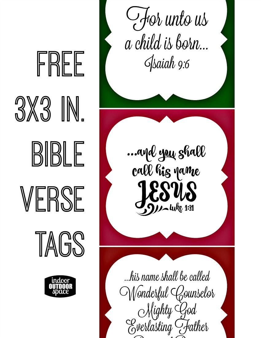 Free Christmas Bible Verse Printable Tagsshalana | Digital - Free Printable Bible Verse Labels