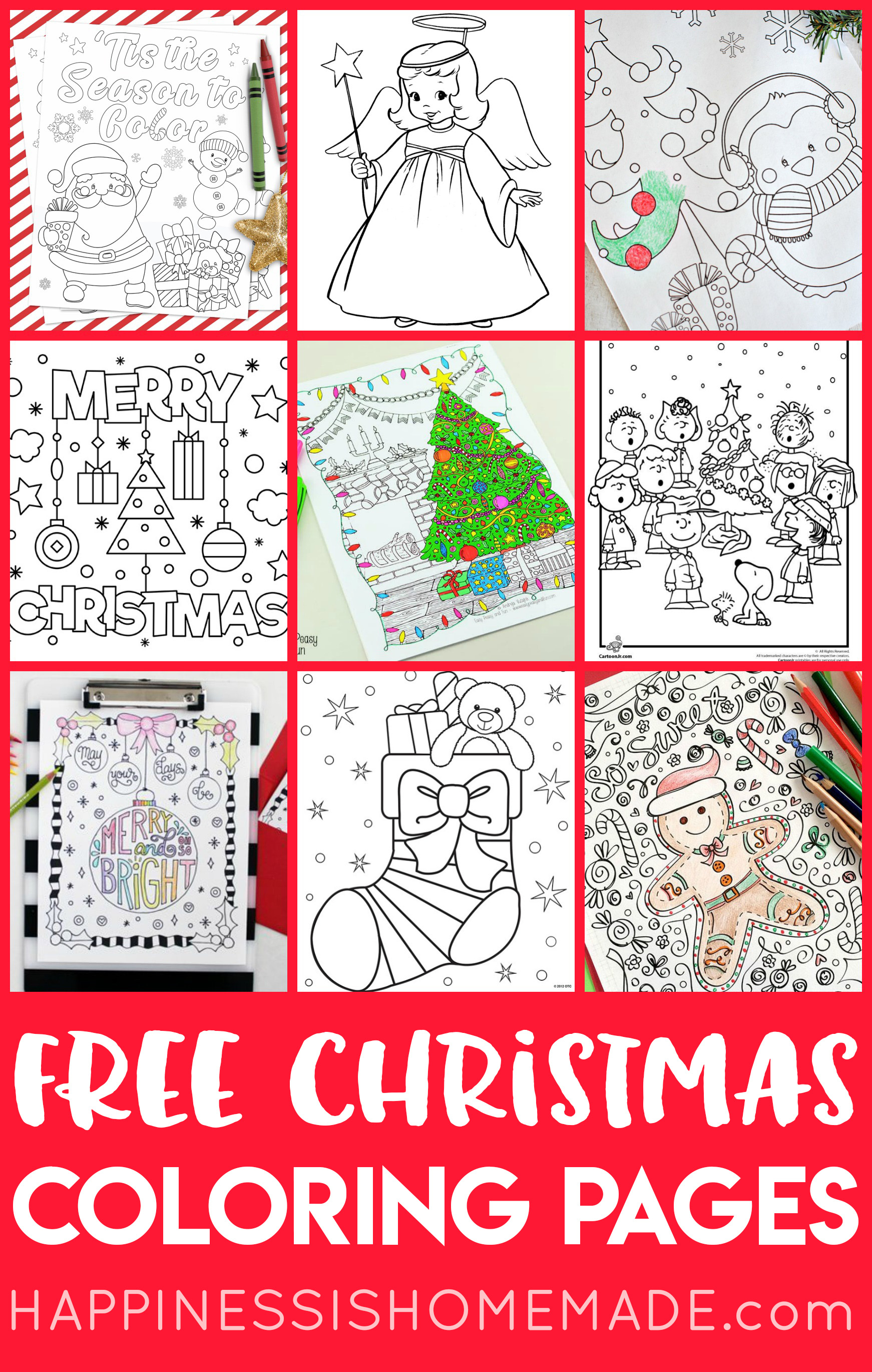 Free Christmas Coloring Pages For Adults And Kids - Happiness Is - Free Printable Christmas Pictures