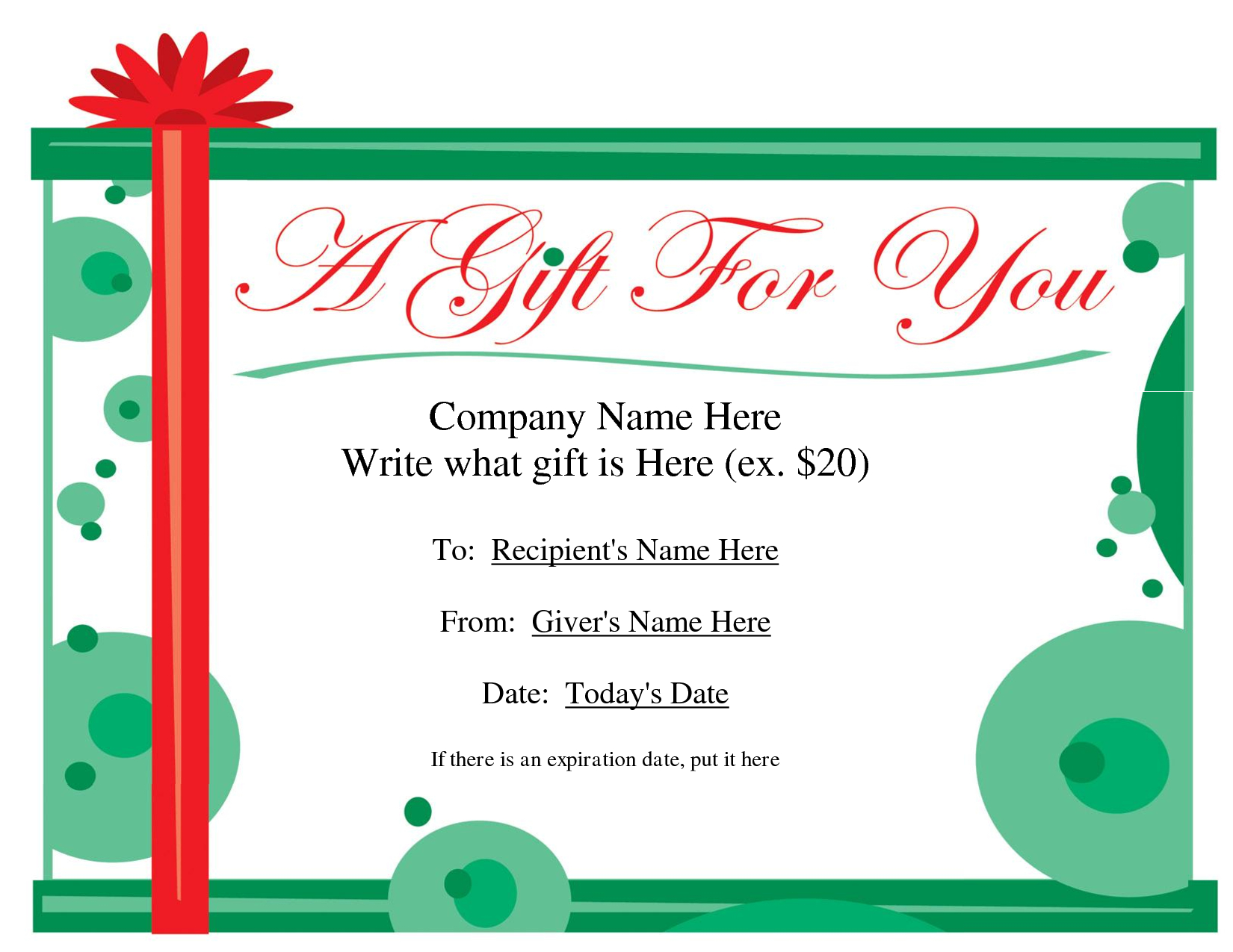 Free Christmas Gift Certificate Templates | Ideas For The House - Free Printable Gift Certificates