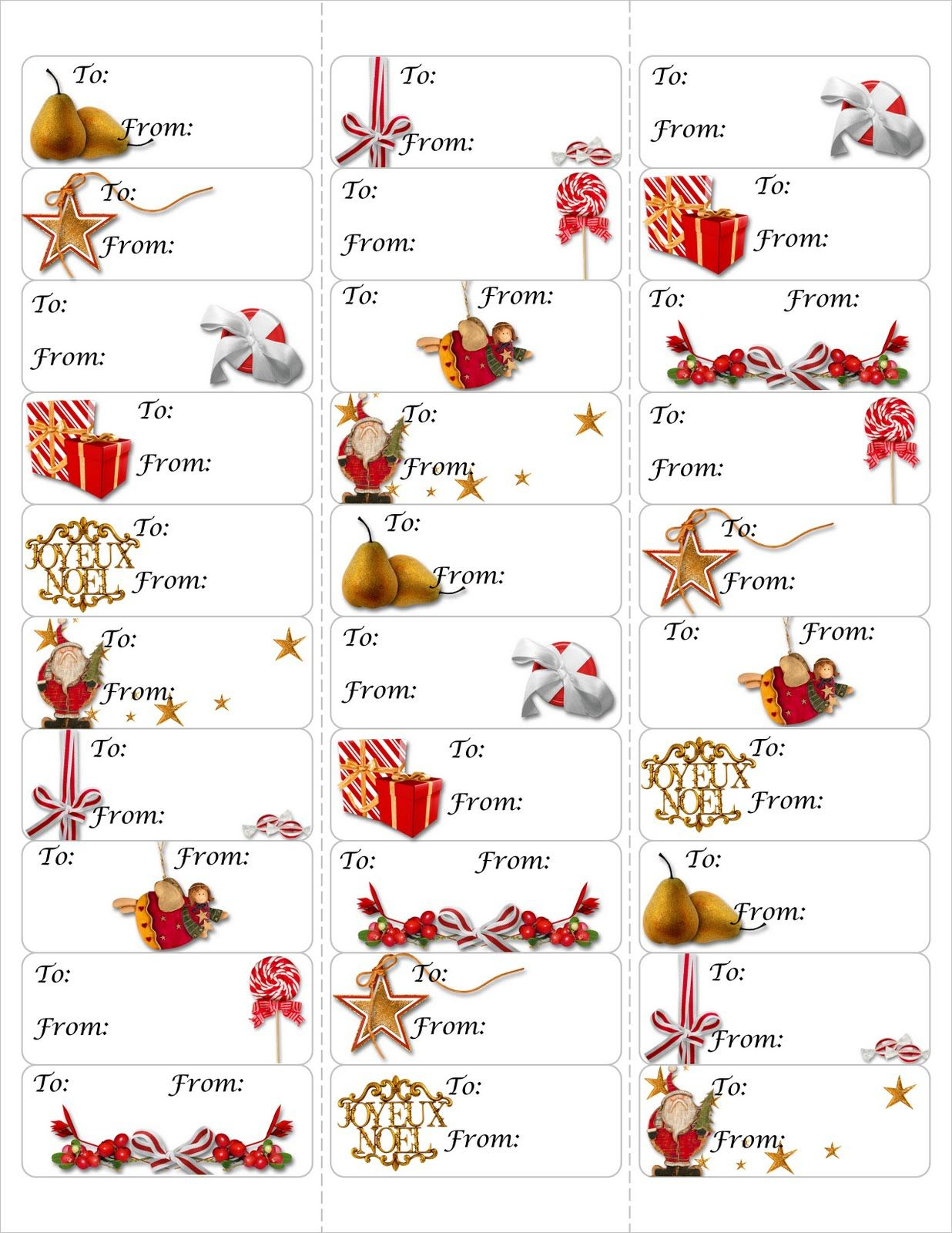 Free Christmas Gift Tag Printable ~ Print Either On Card Stock & Cut - Free Printable Christmas Address Labels Avery 5160
