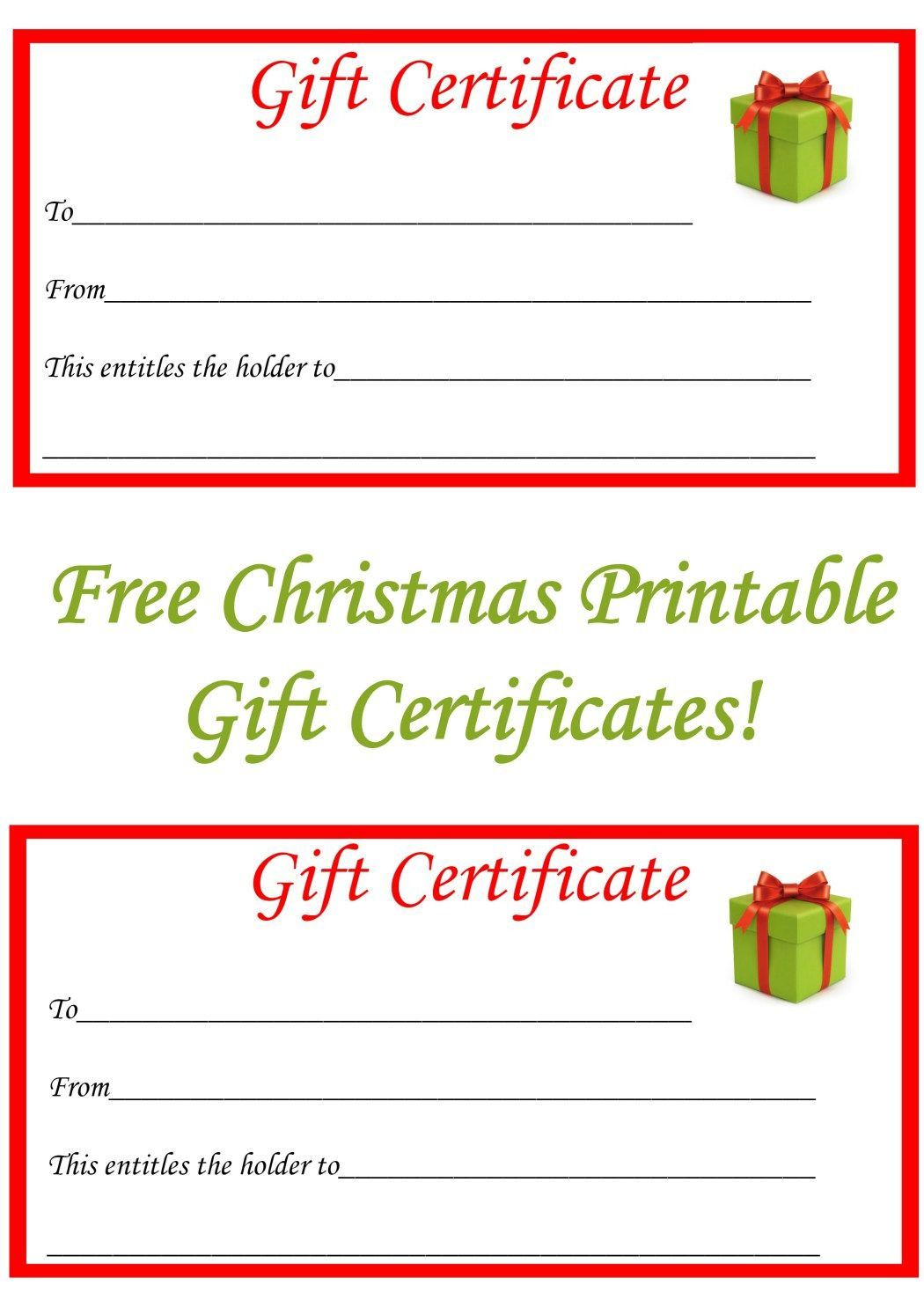 Free Christmas Printable Gift Certificates | Gift Ideas | Pinterest - Free Printable Gift Certificates
