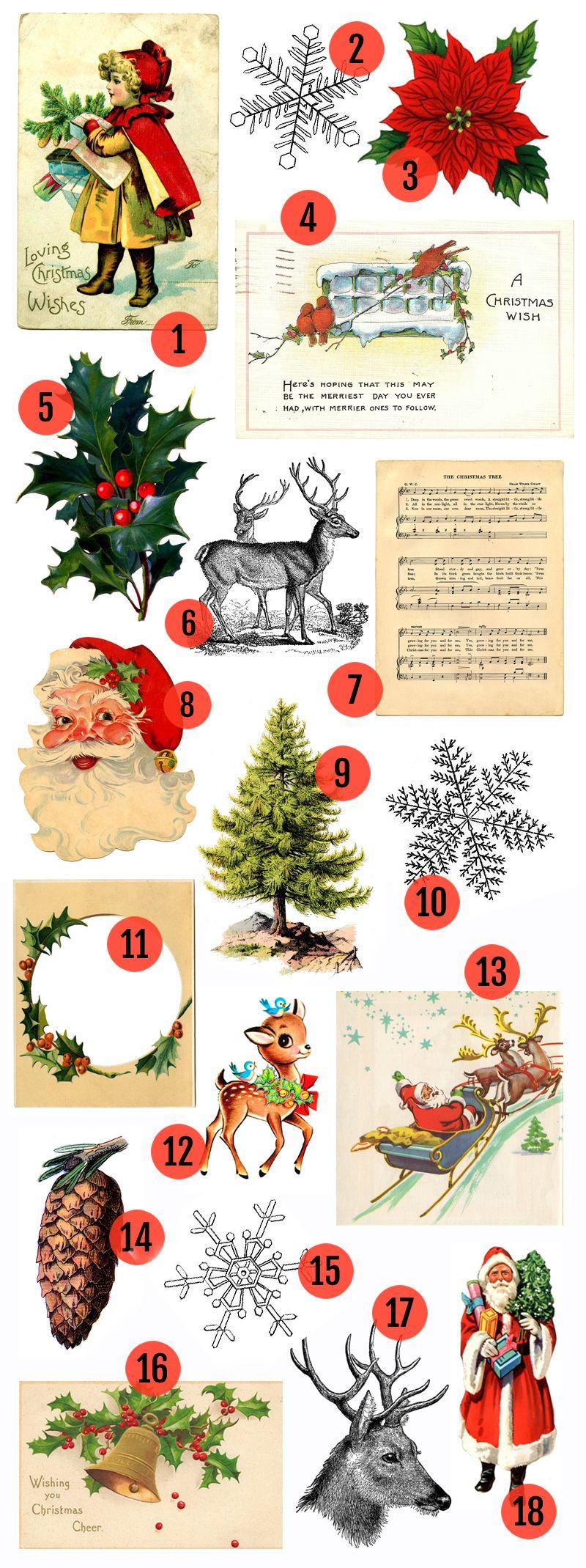 Free Christmas Printable & Vintage Christmas Clip Art | Christmas - Free Printable Vintage Christmas Images
