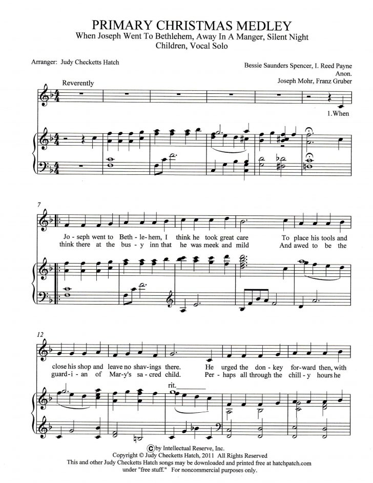 Free Christmas Sheet Music For Keyboard Printable