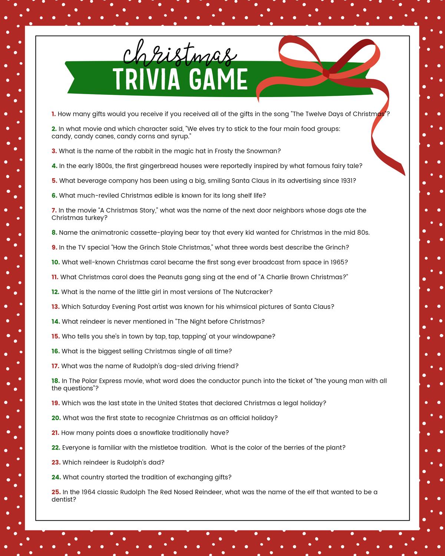 Free Christmas Trivia Game | Lil' Luna - Free Printable Christmas Games For Adults