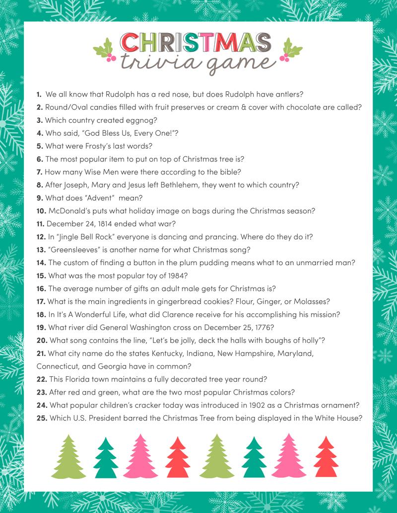 Free Christmas Trivia Game | Lil' Luna - Free Printable Christmas Plays Church