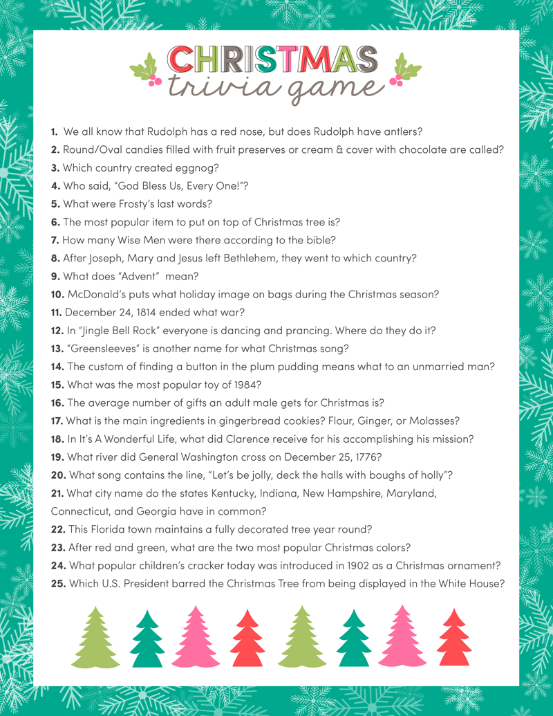 Free Christmas Trivia Game   Lil' Luna - Free Printable Christmas Song Picture Game