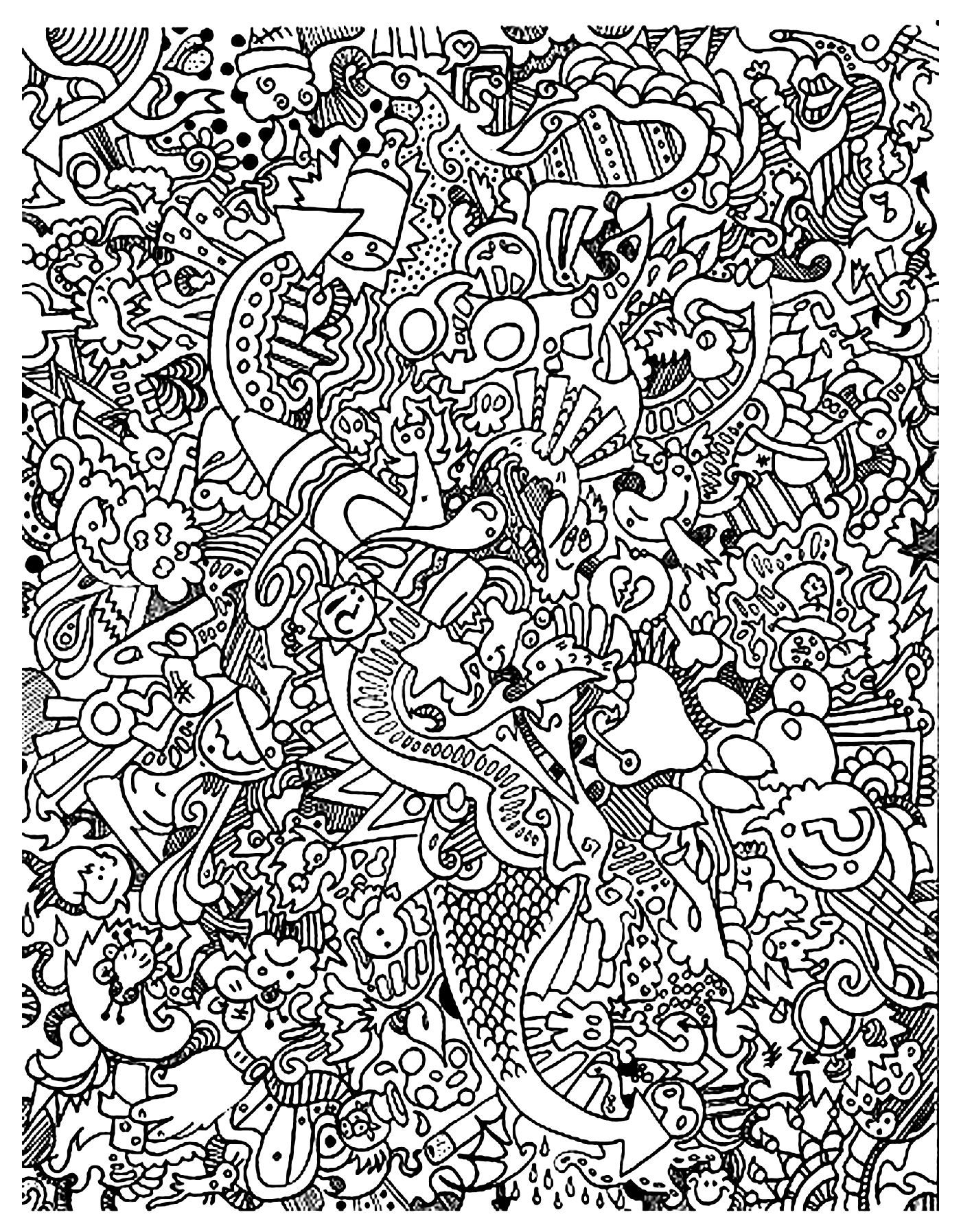 Free Coloring Page Coloring-Doodle-Art-Doodling-18. Very Complex - Free Printable Doodle Patterns