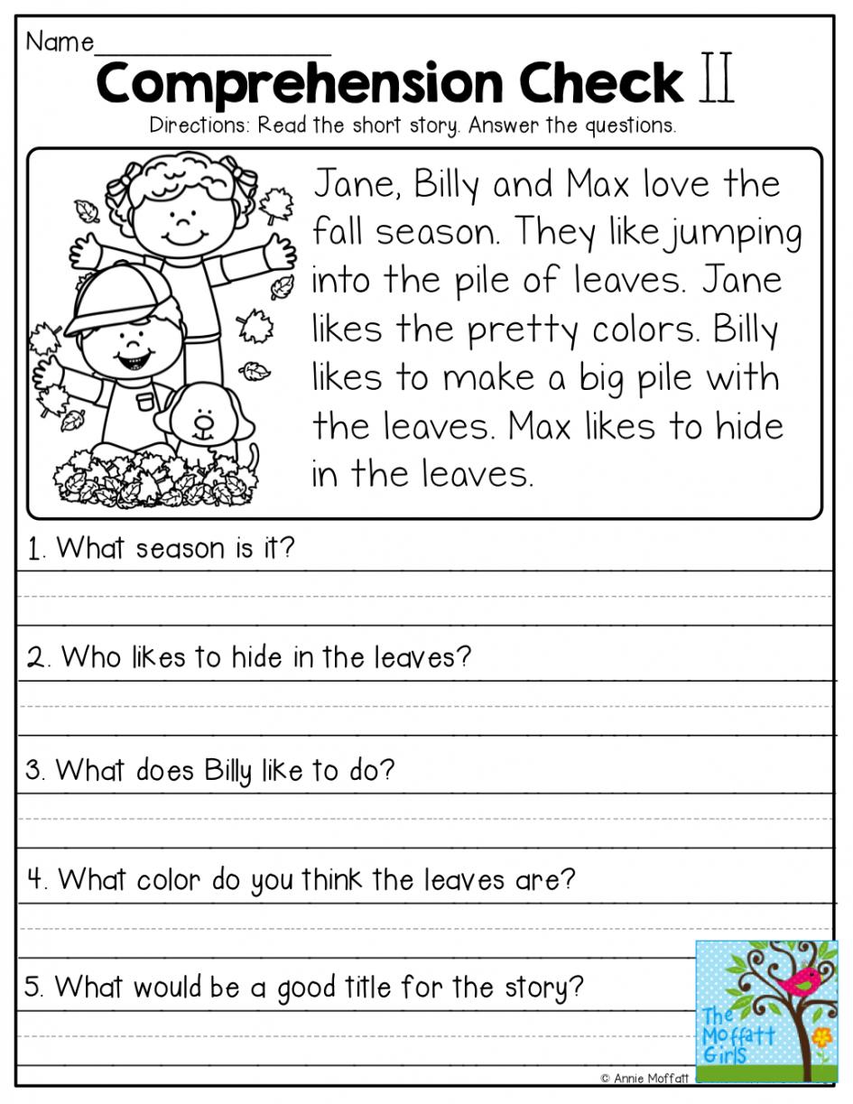 Free Comprehension Worksheets For Grade 1 Free Printable Prehension - Free Printable English Comprehension Worksheets For Grade 4